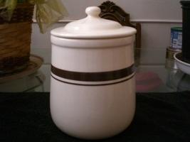 Vintage 1974 McCoy Cookie Jar White w/ Brown Stripe  - $25.00