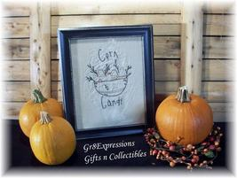 "PRiMiTiVe Framed Stitchery Fall/Halloween ""CANDY CORN"" - $17.95"