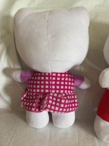 36c1d8864 HELLO KITTY by SANRIO plush DOLLS red white Pink polka dot dress BOW 12""