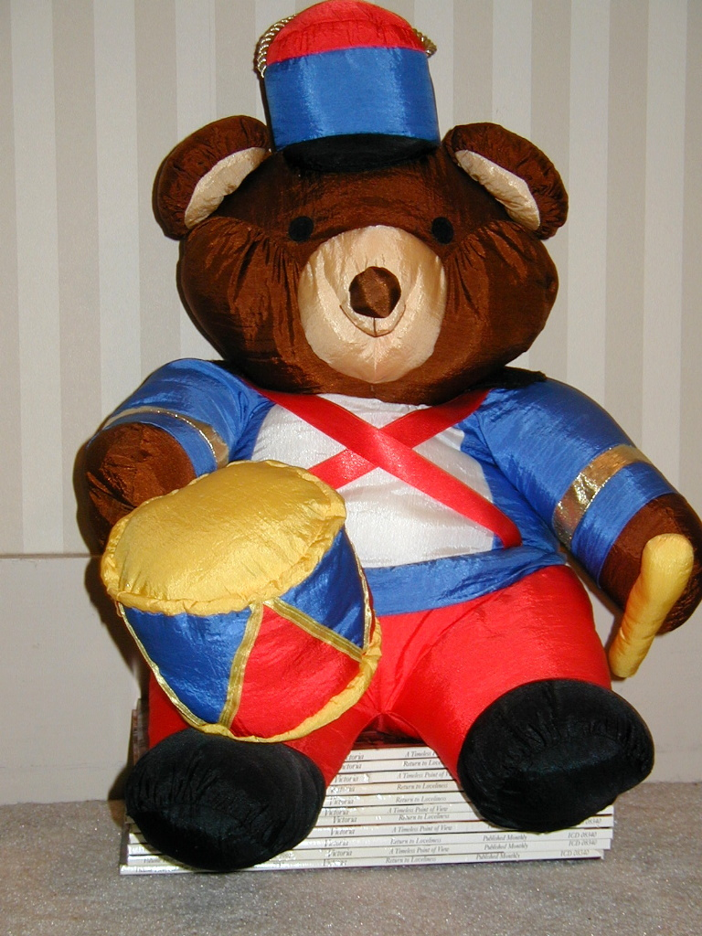 "Primary image for Stuffed Toy Soldier Christmas Bear Drummer Decoration Silky 17"" Tall Sitting"