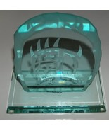 Handcrafted Carved Jade Glass Bear Clan On Base Steven Hearn - $24.99