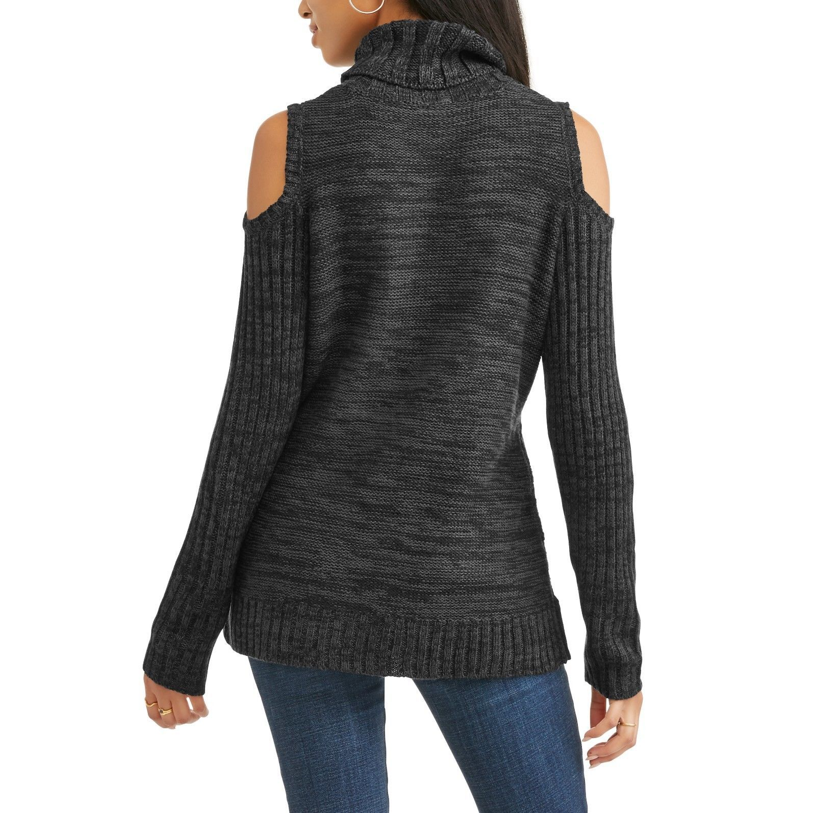 Faded Glory Women's Cold Shoulder Sweater Size Large 12-14 Black Marled