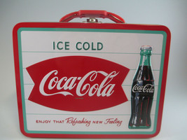 Coca-Cola Tin Embossed Lunch Box Carry All Ice Cold Fish Tail Logo - $13.37