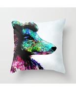 Throw Pillow Cushion case Made in USA Dog 136 Collie aqua pink art L.Dumas - $29.99+