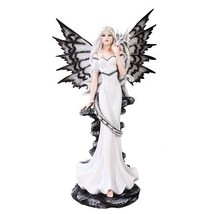 Extra Large White Tribal Fairy Dragon Statue Finish Made of Polyresin - $106.92