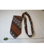 Christian Dior Vintage brown tie necktie WIDE orange VTG RARE gold antique - $39.59