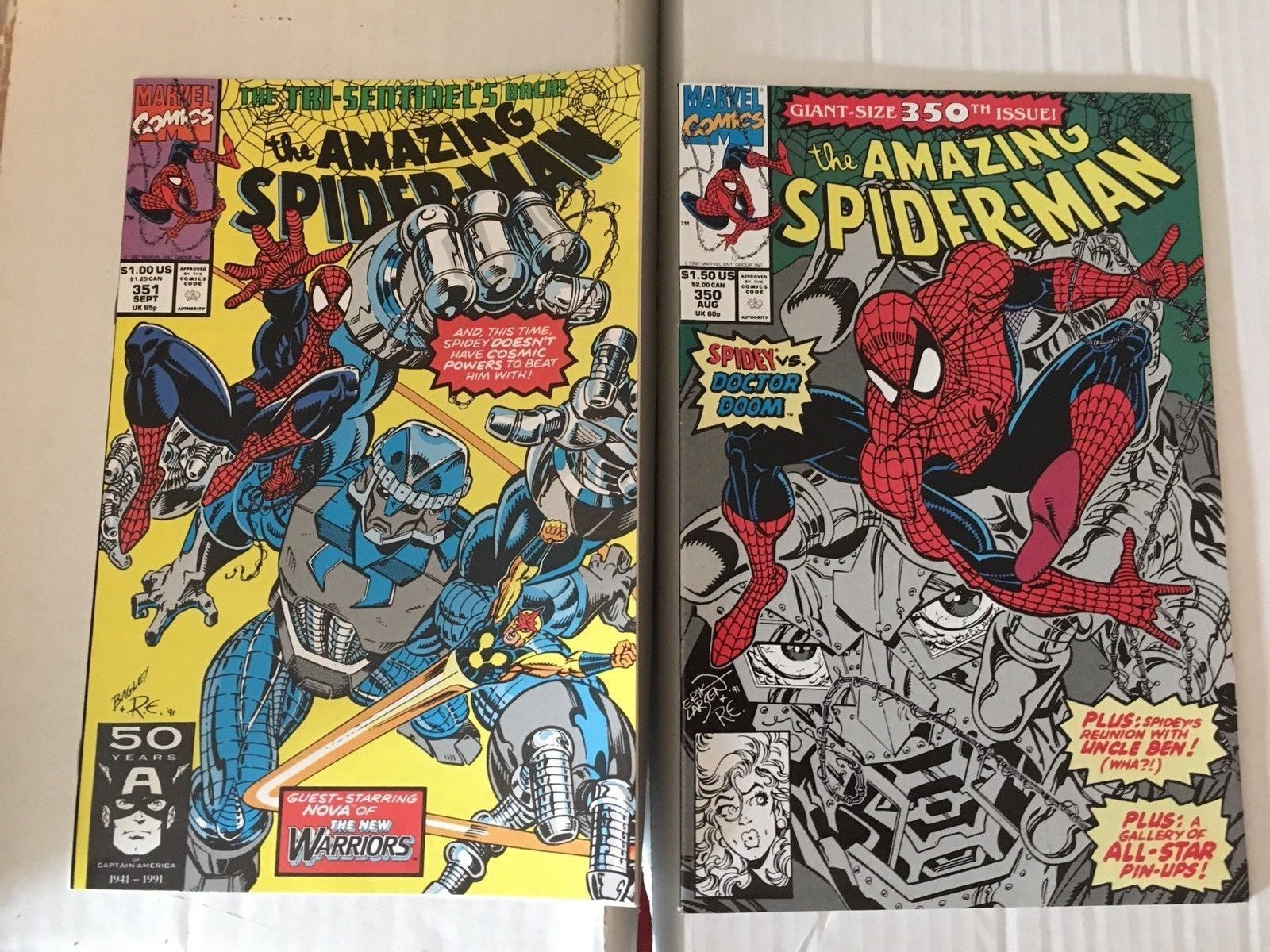 Amazing Spider-Man 350 & 351 Marvel Comic Book Lot 1991 VF+ Condition
