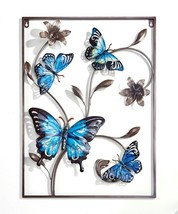 "24"" High Blue Grey Butterfly Design 3D Metal Frame Wall Plaque"