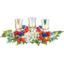 Lighted Patriotic Red, White and Blue Floral Tabletop Centerpiece Arrang... - $21.98