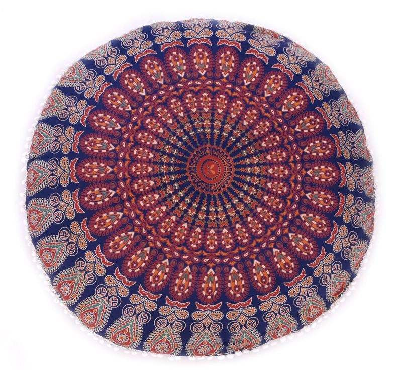 "Primary image for 32"" Pouf Cover Round Mandala India Handmade Bohemian Cushion Pouf Cover Hippie"