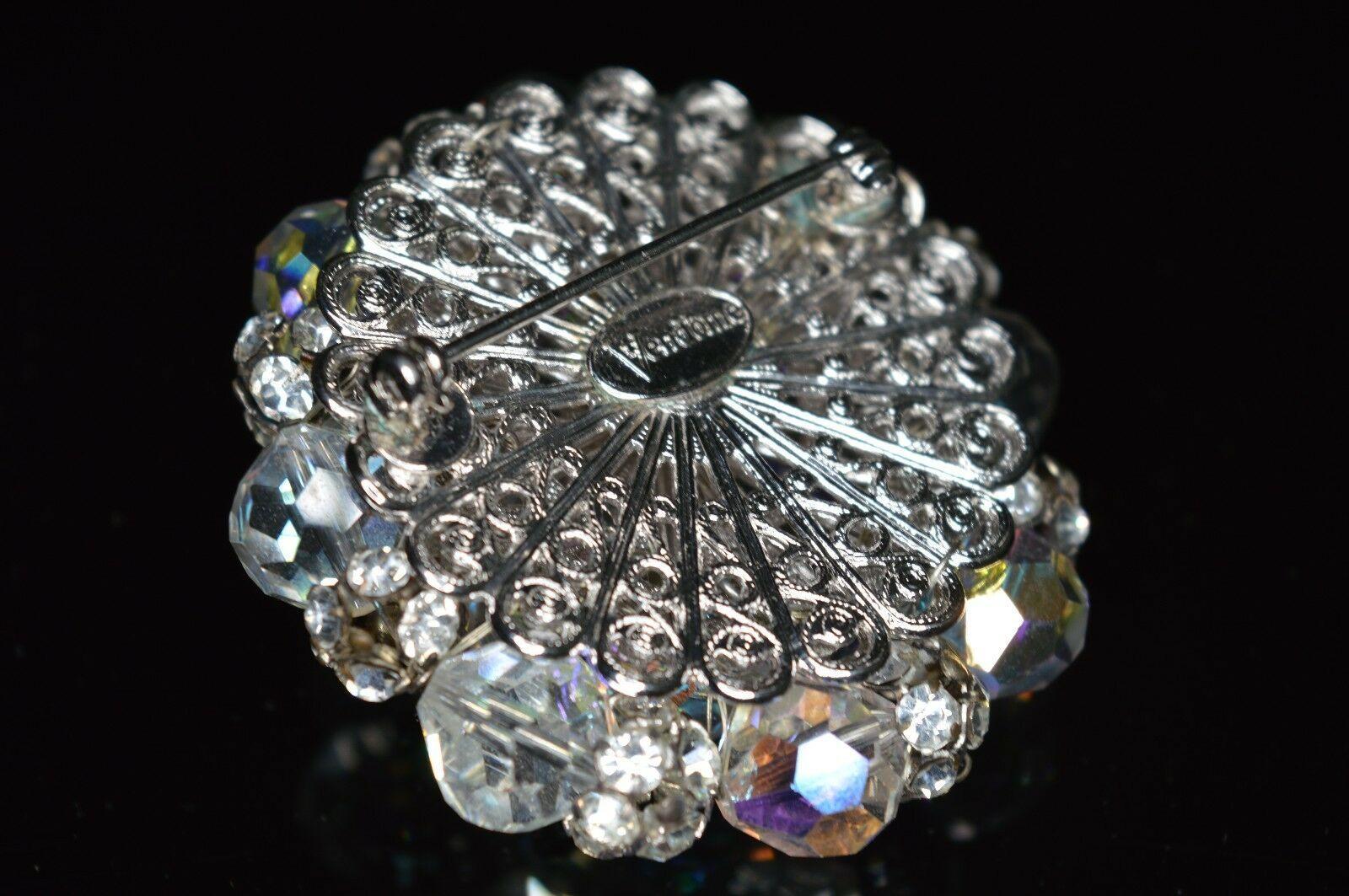 VTG RARE VENDOME Silver Tone Clear Crystal AB Rhinestone Brooch Pin
