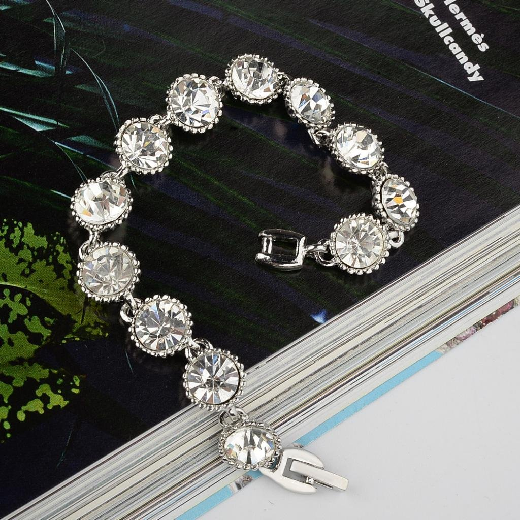 EVER FAITH Silver-Tone Crystal Bridal Art Deco Circle Round Row Link Bracelet Cl