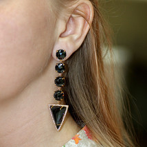 Black Spinel Gemstone Solid 18 k Gold Pave Diamond Long TRIANGLE Dangle Earrings - $5,166.08