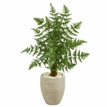 DecMulticolor Ruffle Fern Palm Artificial Tree in Sand Colored Planter - 3.5 Ft. - $185.03