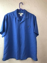 Joe Marlin Mens Medium Hawaiian Shirt Short Sleeve Blue Button Down CAMP... - $13.98