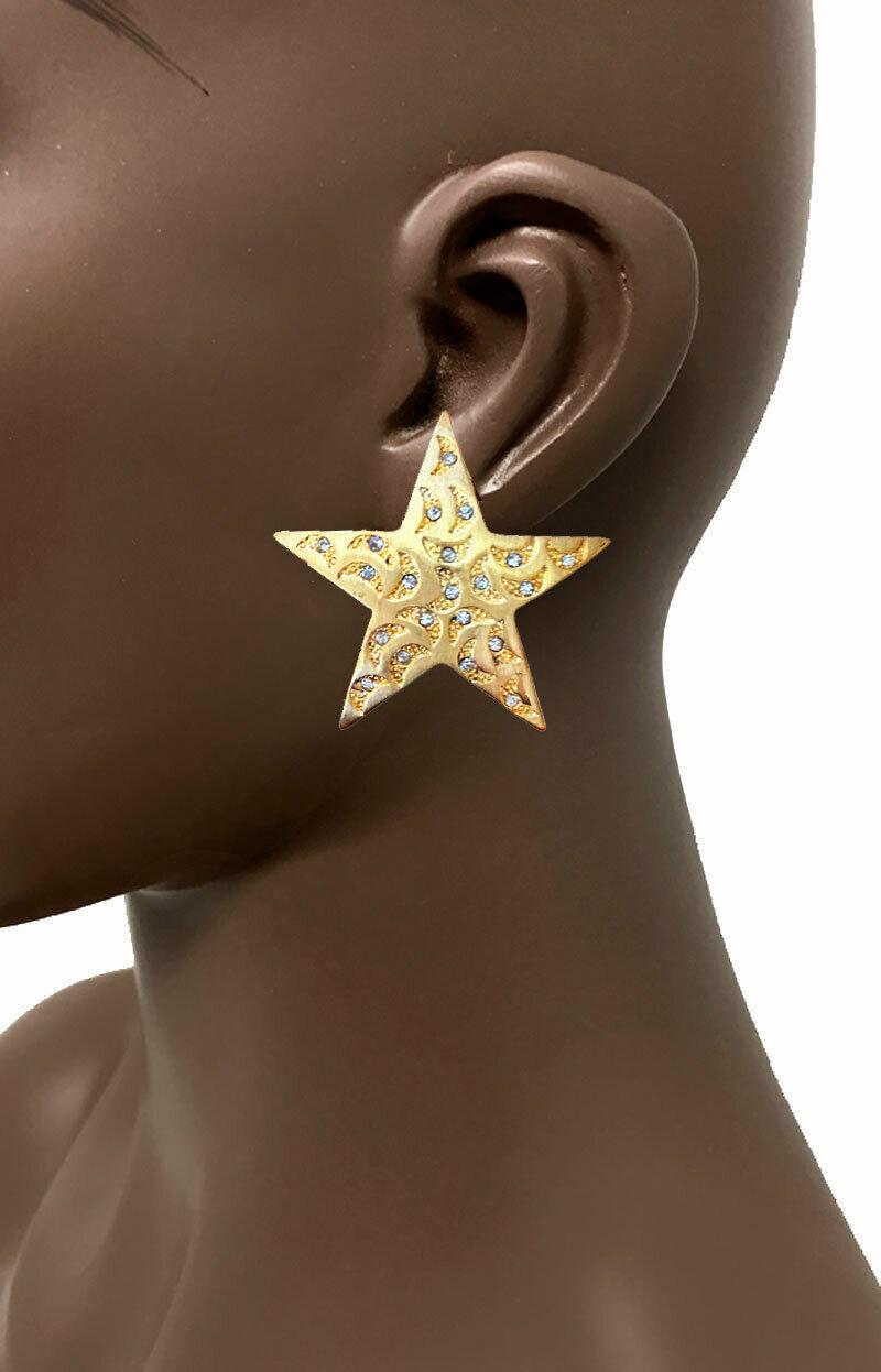 "2"" Drop Gold Tone Star Statement Casual Urban Clip On Earrings Clear Rhinestones - $16.15"