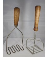 Potatp Mashers Pair Wooden Handled A Metal Bases -Twisted Wire & Looped Vinttage - $10.00