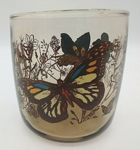 Anchor Hocking Smoky Brown Monarch Butterfly Rocks or Juice Glass Barware - $11.87