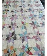Vintage Handmade stitched Quilt  Point Eight Star pattern 78 x 66 - $125.00