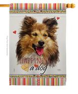 Shetland Sheepdog Happiness - Impressions Decorative House Flag H110216-BO - $40.97
