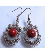 Tibet silver red coral pearl earrings... - $10.00