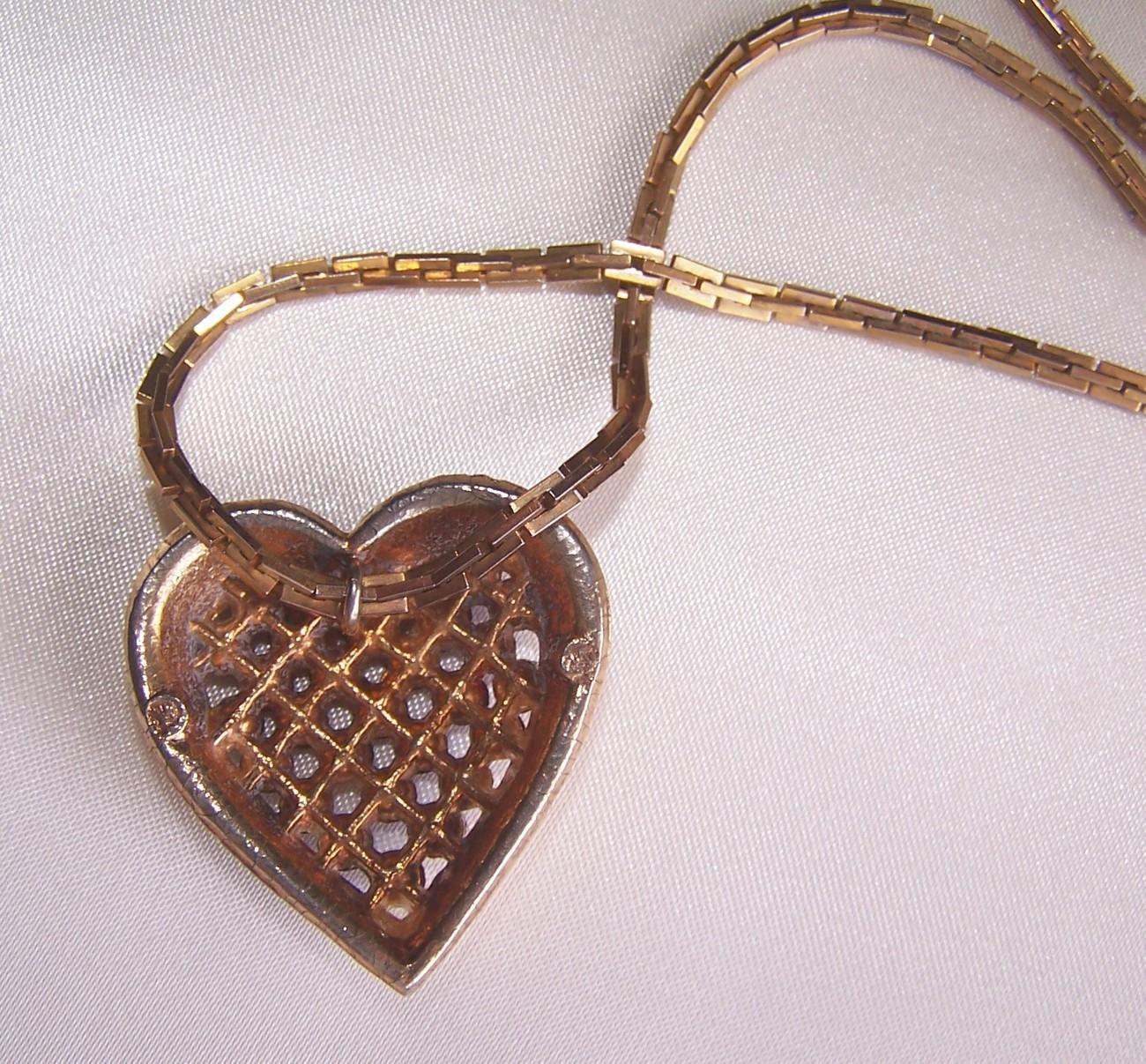 Vintage Valentine Heart Pendant Ruby Red Swarovski Rhineston