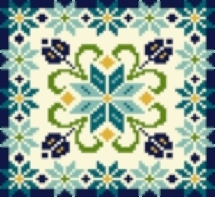 Primary image for Latch Hook Rug Pattern Chart: STAR FLOWER pillow top- EMAIL2u