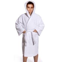 Luxury Hooded Kids Robe, White Terry Loop, 7-11 yo, UNISEX - $29.99