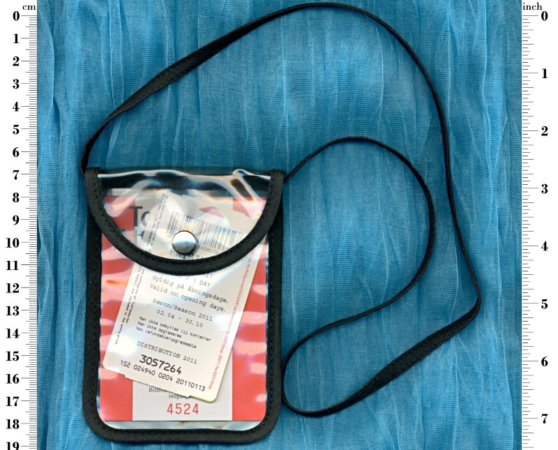 Transparent neck pouch purse with front flap snap fastener closure