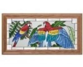 22x11 MACAW Parrot Stained Art Glass Framed Wall Suncatcher  - $60.00