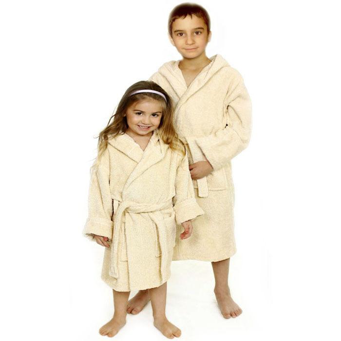 Luxury Hooded Kids Robe, White Terry Loop, 7-11 yo, UNISEX