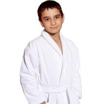 Luxury Shawl Kids Robe, White Terry Velour, 5-9 yo, UNISEX - $27.99