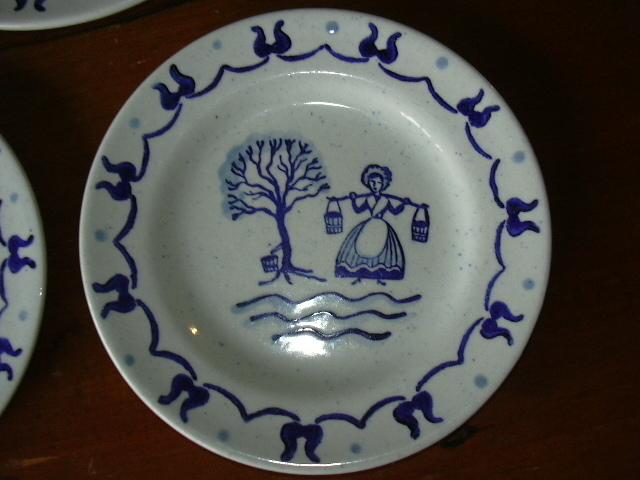 """(3) Metlox POPPY TRAIL """"PROVINCIAL BLUE"""" plates; 1950"""