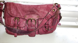 excellent coach shoulder bag red leather 15x9x3 with lots of pockets - $110.00