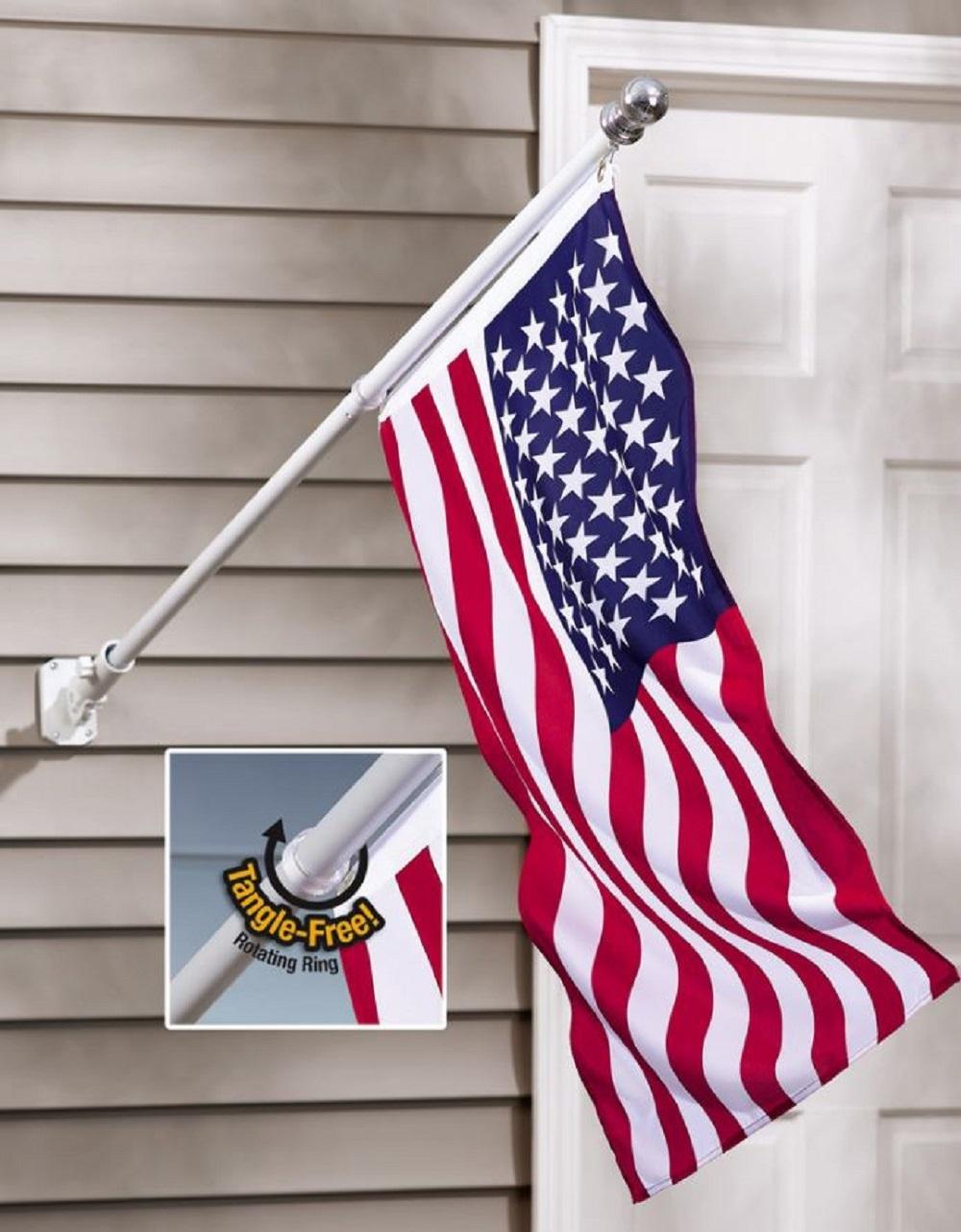 American Flag and Flagpole Rotating Pole Adjustable Porch Banner Display Decor