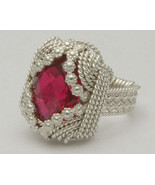 Wire Wrapped Berry Wire Man Made Ruby Sterling ... - $150.00