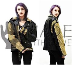 Women's Punk Rock Black Golden Studded Biker Style Ladies Leather Jacket - $349.99+