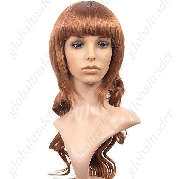 Synthetic Natural Long Wavy Wig with Full Bang Hairpiece