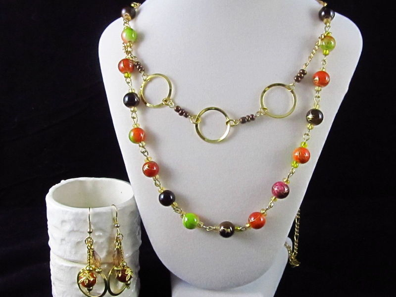Golden Circles 2 in 1 Necklace & Earrings