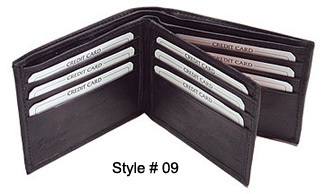 6 MEN'S GENUINE LEATHER WALLETS BI-FOLD TRI-FOLD BAG