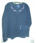 LADIES WOMEN TOP FLEECE  EMBROIDERY BLOUSE SWEATER -2X HOLIDAY GIFT ITEM... - $16.27