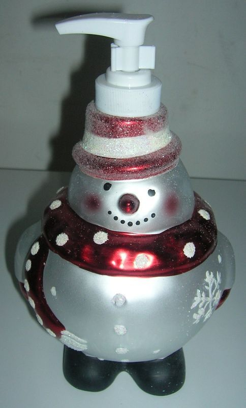 NEW 1 SOAP/ LOTION DISPENSER ROUND SNOWMAN CHRISTMAS GIFT BATHROOM ACCESSORY