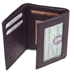NEW 100% genuine Mens Leather Wallet Bifold Slim Black