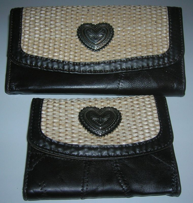 NEW LADIES 2 WALLET SET BROWN PATCHWORK  LEATHER/STRAW