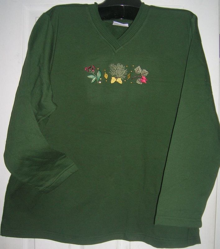 NEW LADIES/WOMEN HOLIDAY TOP EMBROIDERED FLEECE SZ 3XL