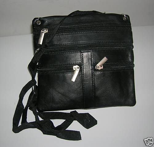 NEW MEN/WOMENS BLACK GENUINE LEATHER ZIPPERED PURSE BAG
