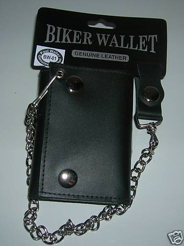 NEW MENS BIKER WALLET TRIFOLD GENUINE LEATHER GIFT IDEA