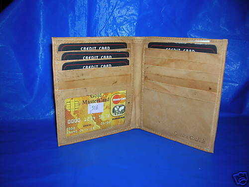 NEW MENS GENUINE LEATHER BIFOLD /CARD HOLDER TAN