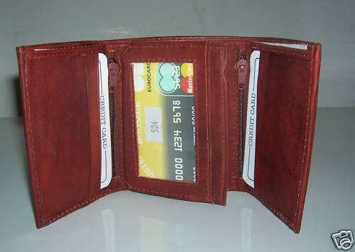 NEW MENS TRIFOLD CARD CASE PURSE LEATHER WALLET BROWN