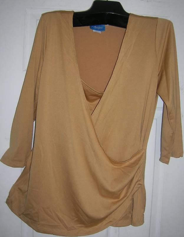 NEW WOMEN LADIES WRAP TOP SZ- S- FAUX WRAP SHIRT BLOUSE